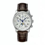 LONGINES 浪琴錶 L27734783巨擘月象多功能計時腕錶/白網紋面42mm