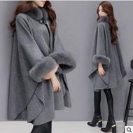 Winter Clothing Korean Style Fox Fur Collar Mid-Length Woolen Coat Temperament Cape and Shawl Coat for Women