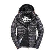美國百分百【Superdry】極度乾燥 FUJI 風衣 鋪棉 連帽 外套 防風 夾克 黑灰迷彩 S M L號 H287