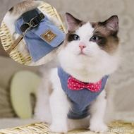 貓繩 牛仔民族風貓咪引繩胸背帶貓咪專用貓繩子 防逃脫背心式溜貓繩  MKS 第六空間