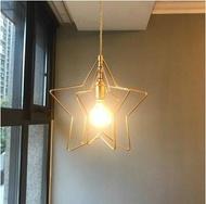 北歐風格簡約餐廳小吊燈創意過道玄關星星燈復古陽臺飄窗黃銅吊燈LX  居家生活節