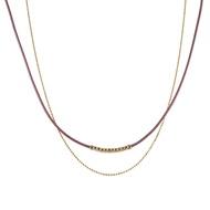 〔APM飾品〕日本Kaza 豔澤蠟繩磁扣雙鍊項鍊 (可當手環/腳環) (粉色系) (黃色系) (綠色系)