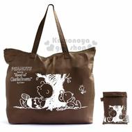 〔小禮堂〕史努比 折疊尼龍拉桿行李袋《棕.背對背.剪影》側背袋.旅行袋.手提袋