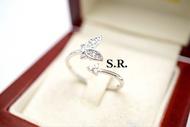 แหวนทองคำขาวผีเสื้อเพชรเม็ดละ 1 ตังขาวสวยไฟดี พร้อมใบรับรองสินค้า เคลือบทองคำขาวแท้100%