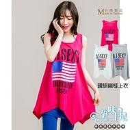 清涼無袖下擺不規則國旗圖案上衣 三色 台灣製【COI0035】孕味十足 孕婦裝