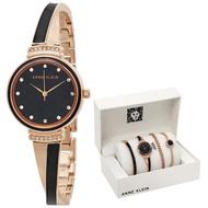 【Anne Klein】深夜情挑絕美琺瑯腕錶套組-玫瑰金x30mm(AK-2216NRST)