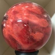 火焰紅兔毛水晶球(送LED燈底座)