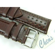 【Chens】『近6mm加厚』三眼計時碼錶專用 20mm 22mm 24mm 咖啡色羊皮錶替代 BREITLING ORIS S