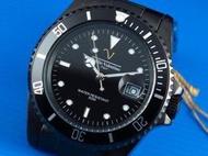 來來鐘錶~Emilio Valentino范倫鐵諾全不鏽鋼黑水鬼submariner日本星辰机芯IP black