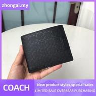 Coach กระเป๋าสตางค์ COACH ผู้ชายกระเป๋าสตางค์พับกระเป๋ากระเป๋าสตางค์ใบสั้น (การ์ดกระเป๋าสตางค์ + กระเป๋าสตางค์) F74547