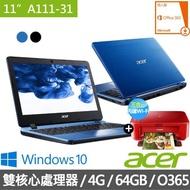 【贈Canon相片複合機】Acer A111-31 11.6吋小筆電(N4000/4G/64GB/Win10)