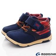 ★日本月星Moonstar機能童鞋HI系列寬楦護踝穩定靴鞋款22085深藍(中小童段)