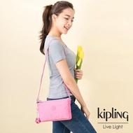 【KIPLING】甜美糖果粉雙內袋斜背小包-MIKAELA