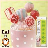 asdfkitty可愛家☆貝印 COOKPAD棒棒糖矽膠模型-草莓禮物玫瑰花-可做巧克力.蛋糕.手工皂-日本正版商品