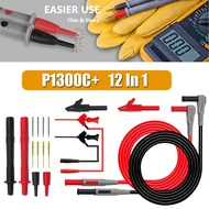 P1300C+ 12-in-1 Super Multimeter Replaceable Probe Test Lead Kits+Alligator Clip - intl