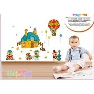 壁貼-壁貼之王 壁貼第一 XL壁貼無痕壁貼【山中幸福】 熱氣球《熊熊家族ABC-1036》130*高100