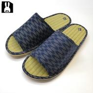 台灣製 透氣舒適室內草蓆拖鞋-橫條紋藍28cm