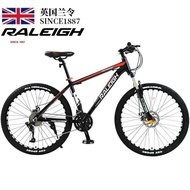 Raleigh mountain bike 24 / 27 / 30 / 33 speed disc brake shock absorption boys and girls fitness cross country car 27 speed high carbon steel black red spoke wheel 26 inch