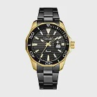 LONGBO龍波 80512時尚簡約多邊造型男士鋼帶手錶- 黑金