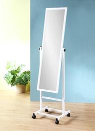 鐵製白烤漆附輪穿衣鏡 立鏡 全身鏡 玄關鏡 化妝鏡 【馥葉】型號KC094WH