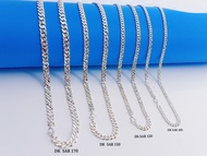 """💥READY STOCK💥 (Necklacet S925 Sterling Silver) 銀項鏈 (Rantai Leher Perak) """"Stamping Curb Chain""""沖壓單扣側身鏈 (Bangle Stamping)"""