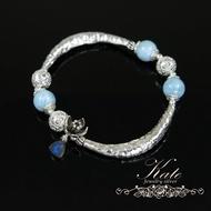 銀飾純銀手鍊 天然拉利瑪(Larimar) 富貴彎月 如意花朵 原創手作 925純銀寶石手鍊 KATE 銀飾