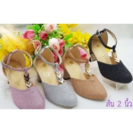 รองเท้าคัชชูส้นสูงสำหรับเด็กผู้หญิง รองเท้าแฟชั่น น่ารัก ใส่สบาย มี 3 สีให้เลือก ไชส์ 31-36
