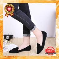 รองเท้าคัชชูผู้หญิง ผ้ากำมะหยี่ ทรงหัวแหลม เบาสบายเท้า มี 2 สี รองเท้าอเนกประสงค์ รองเท้าแฟชั่นสำหรับผู้หญิง ดีไซน์สวย