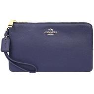 【COACH】深藍荔枝皮革金屬馬車雙拉鍊多卡片大型手拿包