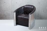 【純真年代】復古風工業風 銀色鋁皮單人沙發坐椅 經典飛行員風皮革沙發 休閒椅 Loft特色個性傢俱家具 酒吧咖啡廳民宿餐廳室內設計裝潢 ~AG-AV24~
