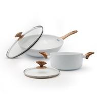 義大利Mama Cook北歐風白陶瓷不沾鍋4件組(炒鍋+湯鍋)