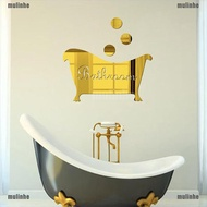 【mulinhe】Removable 3D Mirror Wall Stickers Bathroom Decal Art Mural Room DIY Deco