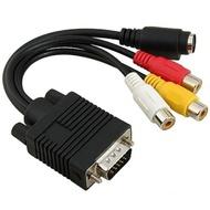【Ainmax 艾買氏】VGA轉S端子線+3AV線(標準Sub-D VGA輸入0d36)