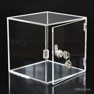 High-Profile Figure Transparent Acrylic Display Box with Lock Dustproof Organic Glass Storage Box Boxes Square Box Custo