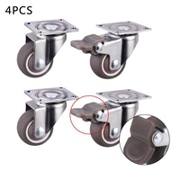 4pcs Furniture Casters Wheels Soft Rubber Swivel Caster Silver Roller Wheel For Platform Trolley Chair Household Accessories