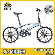 🌟Limited Style🌟 Hito X6 20/22-inch Double Tube Folding Bicycle Ultra-light Magnesium Alloy Portable Disc Brake Adult Road Foldable Bike Free Installation (Customize 20 Inch Please Leave Message)