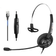 Arama Phones Headset RJ9 with Pro Noise Canceling Mic and Mute Switch Controls Wired Office Headset for Polycom Mitel Plantronic Nortel Shoretel Aastra Avaya Lucent Landline Phones-Mono (A200S)