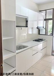 一字型廚房/廚具/廚櫃/流理台   總長250公分+電器櫃60公分 保固一年 另有販售油煙機.瓦斯爐.烘碗機及五金配備