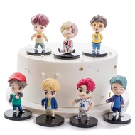 7PCS BTS Cake Toppers Sitting Position Characters Set of Action Figure Toys Cake Toppers for BTS Birthday Party Supplies, The BTS cake decoration is made of high-quality PVC material, which is 100% non-toxic and safe for children and adults