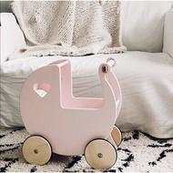 moover 木質心形甜心娃娃小推車過家家扮演寶寶嬰兒車