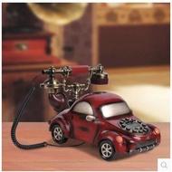 歐式復古電話機 古董造型電話 座機 創意仿古個性卡通 裝飾家用時尚可愛美式固定 座機 汽車造型電話