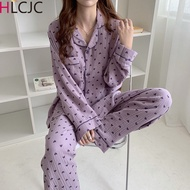 New Autumn Winter Sleepwear 2 Pieces Sets For Women's Cotton Pajamas Turn-down Collar Homewear Large