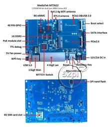 {電子配件}}現貨香蕉派 Banana PI BPI-R64開源路由器,MTK MT7622 64位開發板