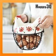 可愛陶瓷母雞雞蛋籃雞蛋收納籃水果籃鐵工藝品彩繪雞烏骨雞造型-紅/藍/黑【AAA3708】