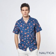 【NAUTICA】夏日渡假熱帶魚圖騰短袖襯衫(藍)