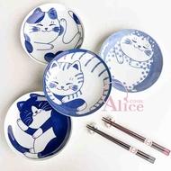 【現貨】日本製 輕量貓咪8寸陶瓷餐盤ねこ|4款|美濃燒 日式餐具 貓咪