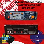 Ampli Bluetooth Karaoke Mini Ac & Dc Fleco D22 Ac dan Dc Usb Aux Radio Tf Card / SD Mic Port - Wireless Stereo Amplifier digital Equalizer - Power Amplifier Fleco D 22 - Amplifier Fleco D 22 Portable