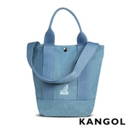 KANGOL 韓版玩色-牛仔手提/斜背釦式小型水桶包-淺藍 AKG1217