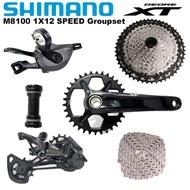 SHIMANO XT M8100 Groupset 1x12s MTB Bike Groupset 28T 30T 32T 34T 36T 2x12s 36-26T 170 175 Crankset Shifter Front Rear Derailleur Cassette 10-45T 10-51T With Bottom Bracket 12 speed