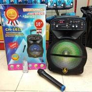 ORIGINAL Karaoke Avcrowns CH-1012 Bluetooth Trolley Speaker 1200W Black 2 Wireless Mic